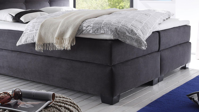 boxspringbett illinois a1 bett anthrazit mit topper 180x200. Black Bedroom Furniture Sets. Home Design Ideas