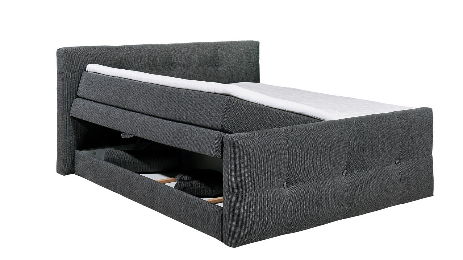 boxspringbett illinois c1 lawa grau topper bettkasten 180x200. Black Bedroom Furniture Sets. Home Design Ideas