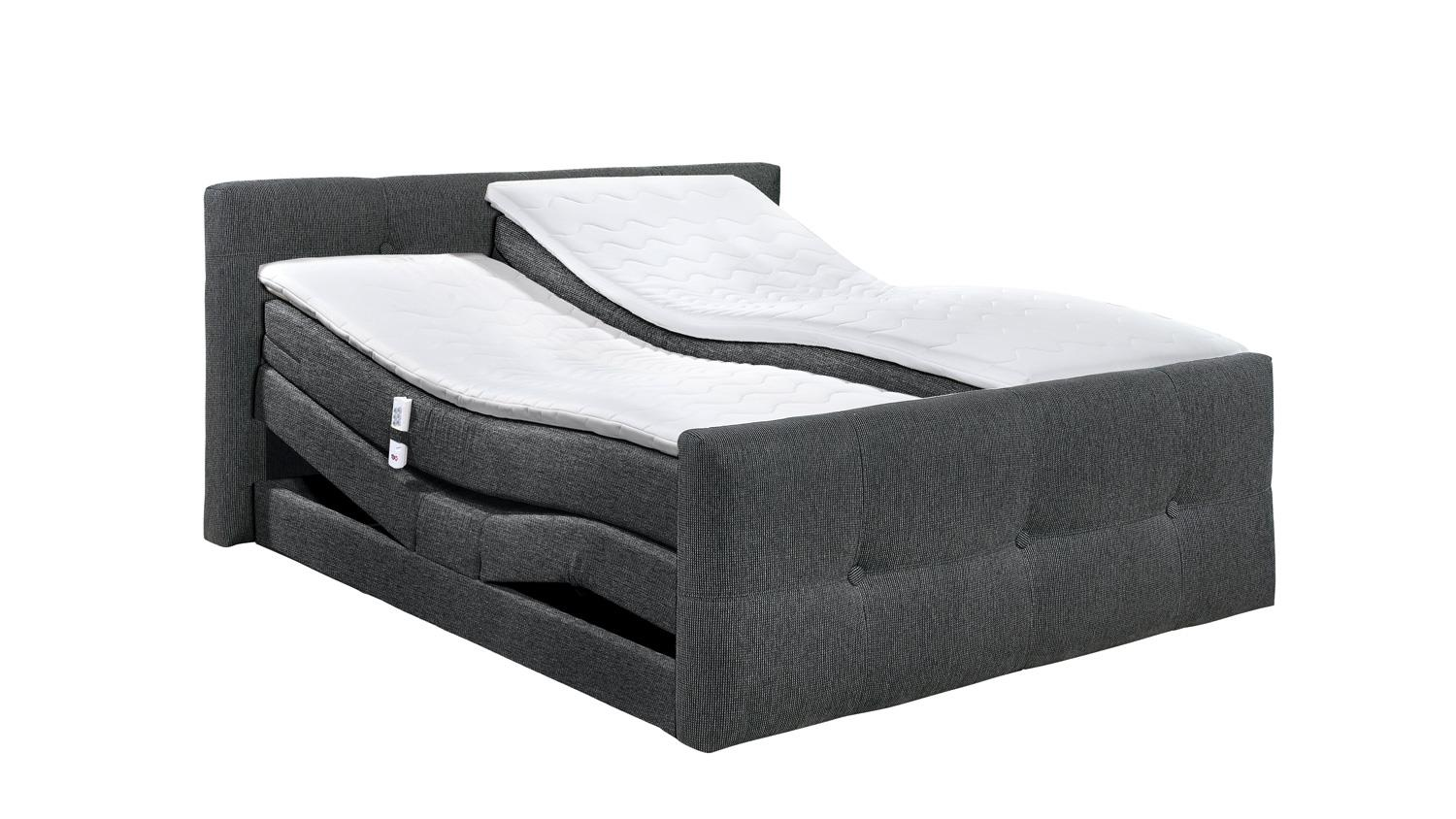boxspringbett illinois d3 lawa grau topper mit motor 180x200. Black Bedroom Furniture Sets. Home Design Ideas
