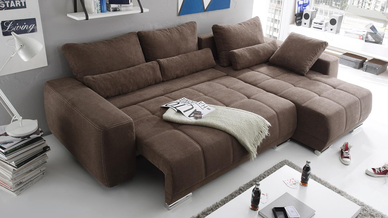 Ecksofa LOPEZ Sofa Wohnlandschaft braun mit Schlaffunktion