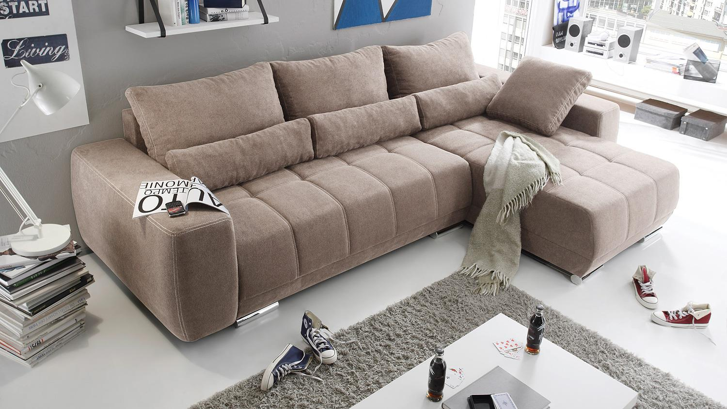 ecksofa lopez sofa wohnlandschaft taupe mit schlaffunktion. Black Bedroom Furniture Sets. Home Design Ideas