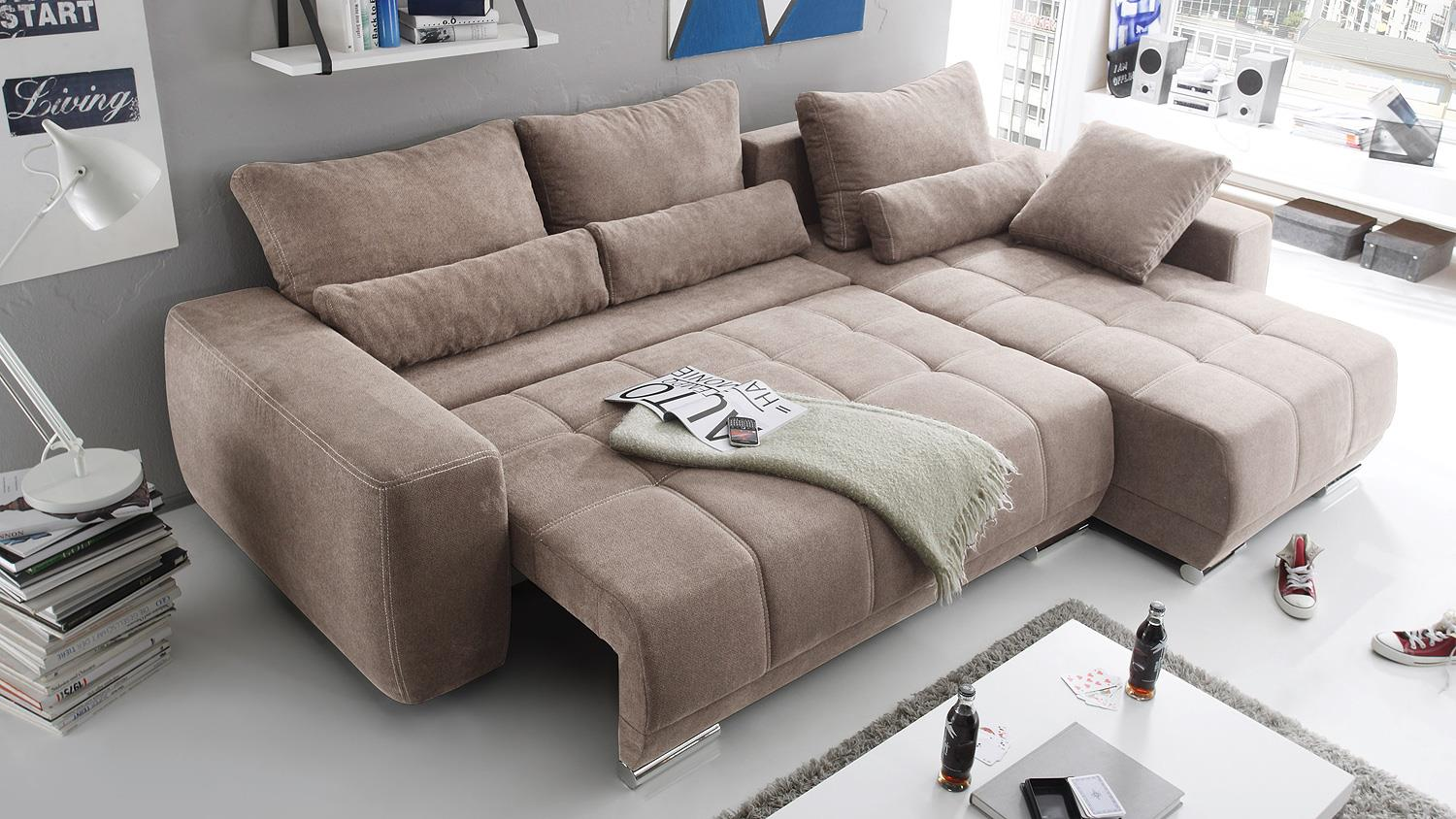 Eckcouch taupe  Eckcouch Taupe: Mendini eck sofa r?cami?re rechts soft taupe ...