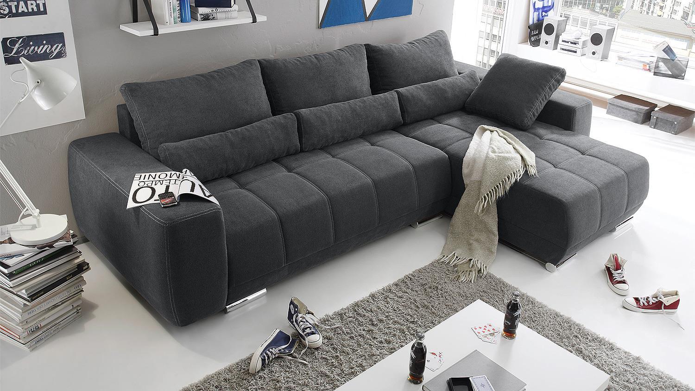 Ecksofa lopez sofa wohnlandschaft anthrazit schlaffunktion for Yatego wohnlandschaft