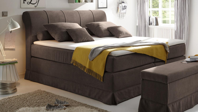 boxspringbett carson 1 bett in braun mit topper 180x200. Black Bedroom Furniture Sets. Home Design Ideas