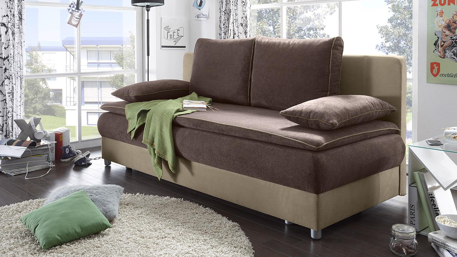 schlafsofa svenja sofa in braun beige dauerschl fer mit bettkasten. Black Bedroom Furniture Sets. Home Design Ideas
