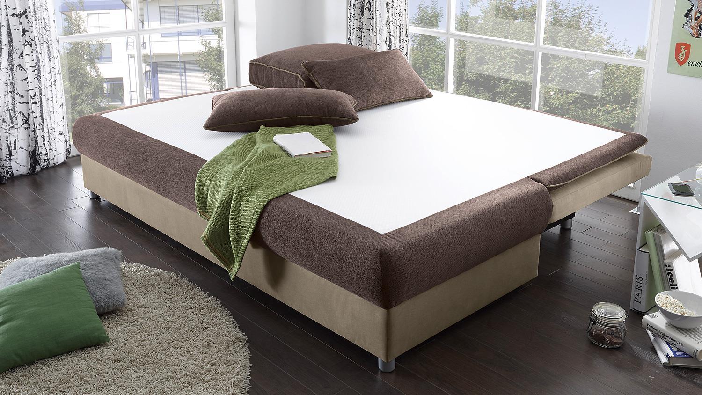 schlafsofa svenja sofa in braun beige dauerschl fer mit bettkasten. Black Bedroom Furniture Sets. Home Design Ideas