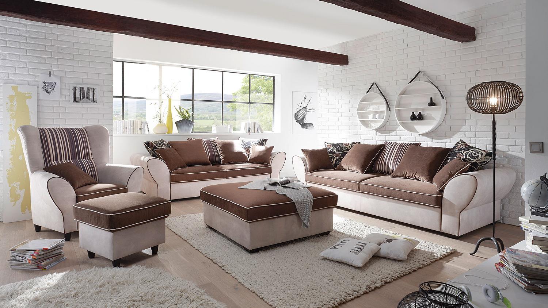 hocker country polsterhocker ottomane in beige braun 103 cm. Black Bedroom Furniture Sets. Home Design Ideas