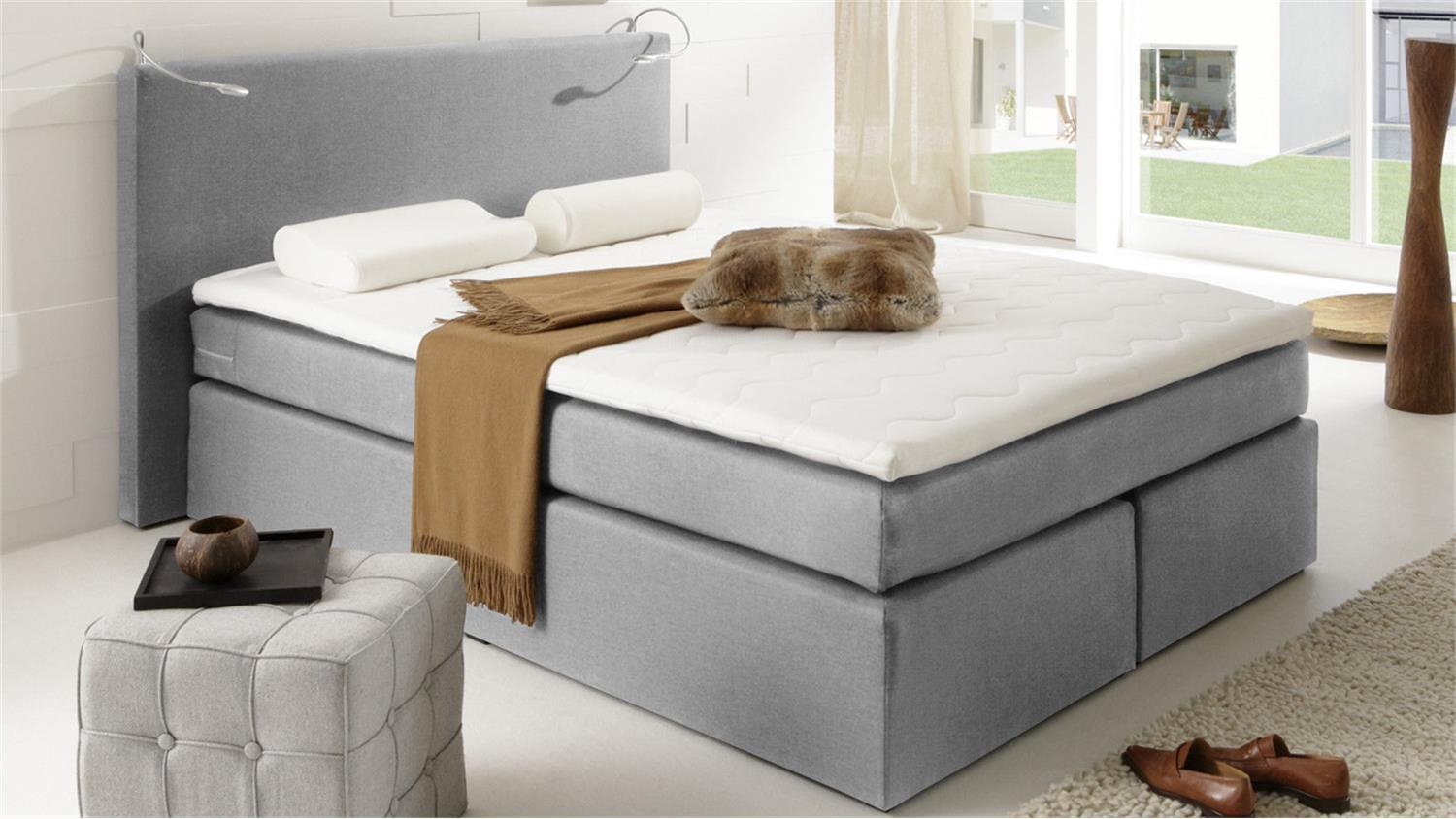 boxspringbett atlanta mit grauem stoff 140x200 cm und topper. Black Bedroom Furniture Sets. Home Design Ideas