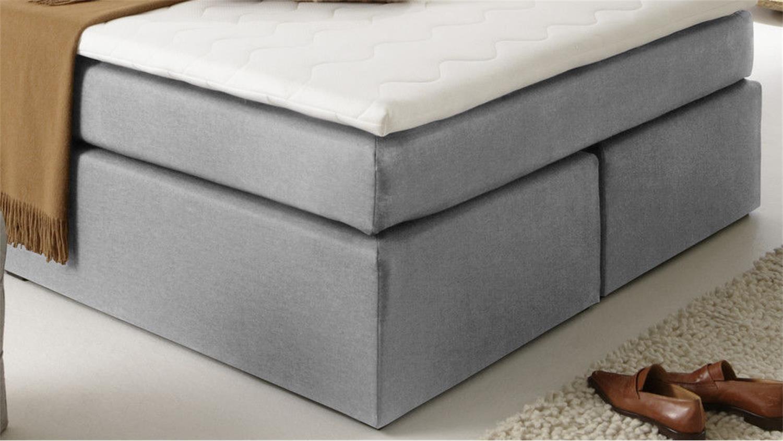 boxspringbett atlanta stoff grau 140x200 cm mit topper. Black Bedroom Furniture Sets. Home Design Ideas