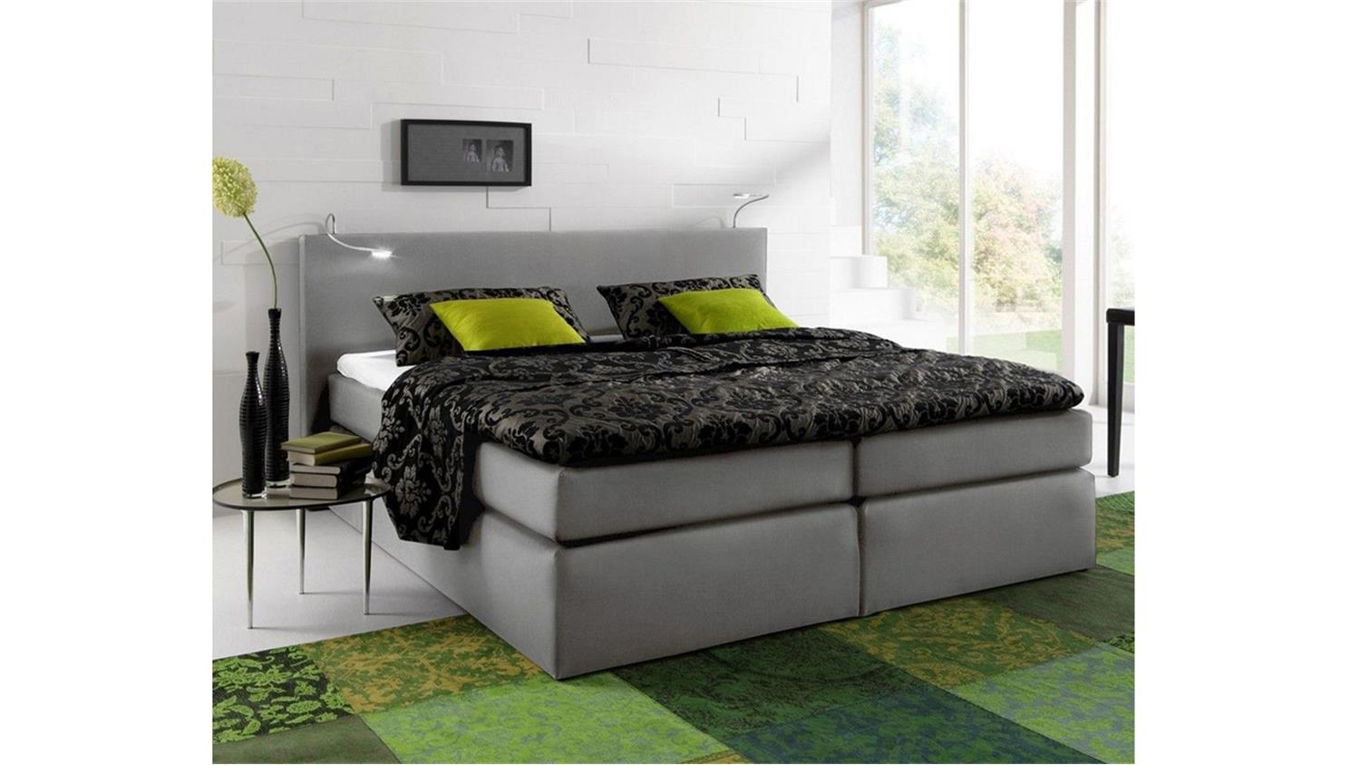 boxspringbett atlanta stoff grau 160x200 cm mit topper. Black Bedroom Furniture Sets. Home Design Ideas