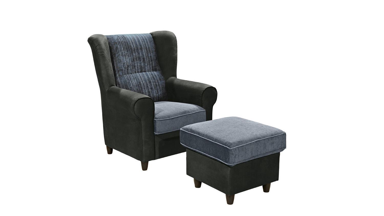 Sessel canyon einzelsessel sofa polsterm bel in schwarz blau for Bequeme fernsehsessel