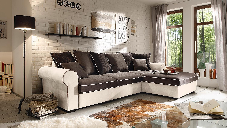 Ecksofa canyon wohnlandschaft sofa beige schwarzbraun funktion for Sofa wohnlandschaft