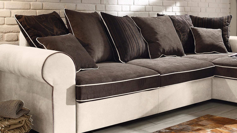 Ecksofa canyon wohnlandschaft sofa beige schwarzbraun funktion for Wohnlandschaft zum schlafen