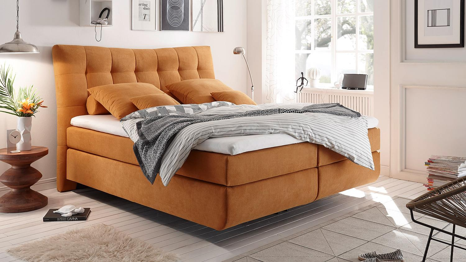 boxspringbett malibus in stoff orange 7 zonen ttk inkl. Black Bedroom Furniture Sets. Home Design Ideas