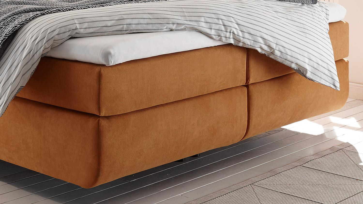 boxspringbett malibus in stoff orange 7 zonen ttk inkl topper 180x200. Black Bedroom Furniture Sets. Home Design Ideas