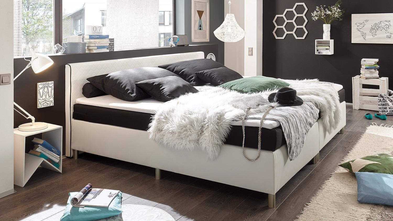 boxspringbett el paso bett wei schwarz mit topper 180x200. Black Bedroom Furniture Sets. Home Design Ideas