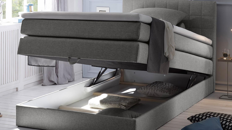 boxspringbett 120x200 hawaii stoff grau bettkasten und topper. Black Bedroom Furniture Sets. Home Design Ideas