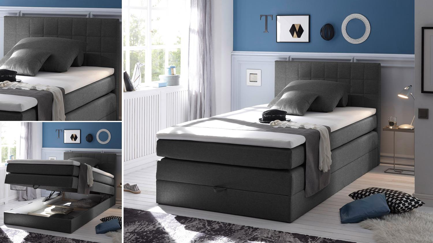boxspringbett 120x200 hawaii stoff anthrazit bettkasten und topper. Black Bedroom Furniture Sets. Home Design Ideas
