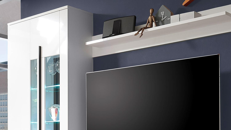 wohnwand long wei hochglanz inkl led beleuchtung. Black Bedroom Furniture Sets. Home Design Ideas