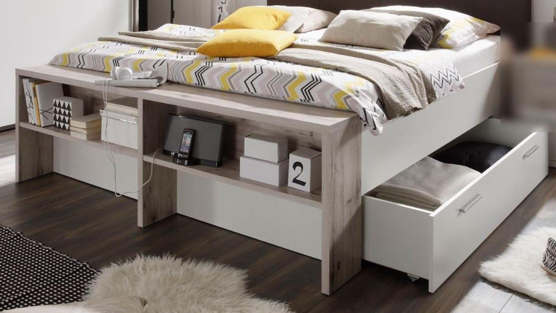 Doppelbett jules in sandeiche und wei mit schubk sten 180x200 for Doppelbett mit stauraum 180x200