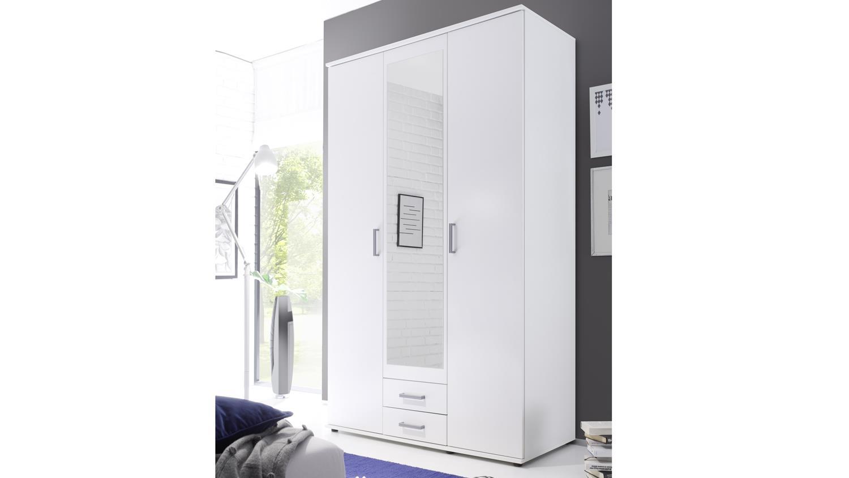 kleiderschrank usedom wei 3 t rig mit spiegelt r. Black Bedroom Furniture Sets. Home Design Ideas