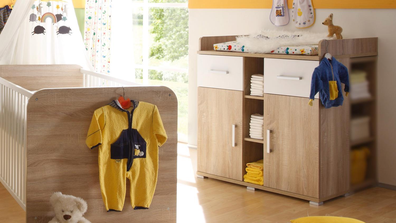 wickelkommode corner kommode mit aufsatz sonoma eiche wei. Black Bedroom Furniture Sets. Home Design Ideas