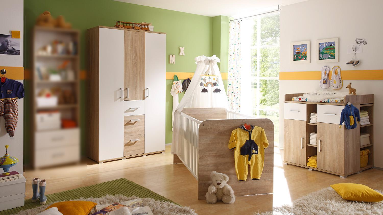 Babyzimmer 2 corner kinderzimmer sonoma eiche und wei for Babyzimmer kinderzimmer