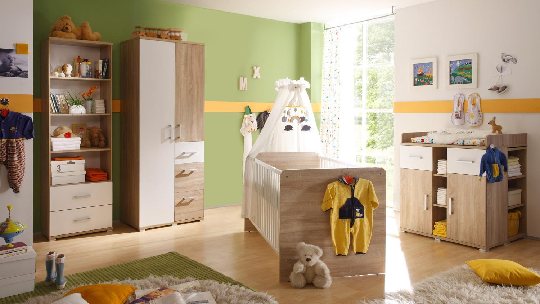 Babyzimmer zwillinge komplett  2 CORNER Kinderzimmer Sonoma Eiche und weiß