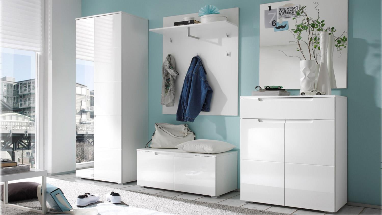 Garderoben Set SPICE 5-teilig weiß Hochglanz Dielenmöbel