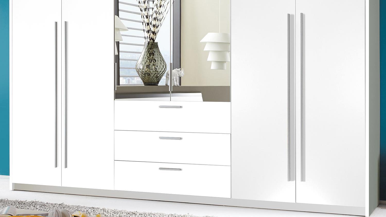 kleiderschrank neptun schrank in wei mit spiegel 270 cm. Black Bedroom Furniture Sets. Home Design Ideas