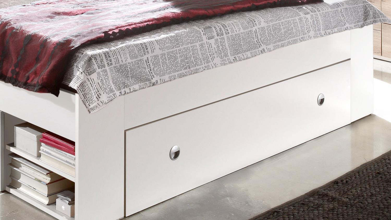 Bettanlage Stefan Bett mit 2 Nachttischen in weiß mit 3 Schubkästen 180x200