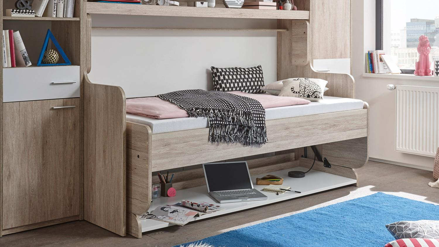 funktionsbett dakota klappbett schreibtisch eiche san remo wei 90x200. Black Bedroom Furniture Sets. Home Design Ideas