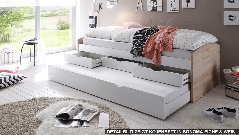 kojenbett nessi tandemliege kinderbett hochbett wei 90x200. Black Bedroom Furniture Sets. Home Design Ideas