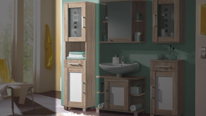 Hochschrank pontos badezimmer bad sonoma wendefront wei for Badezimmer hochschrank