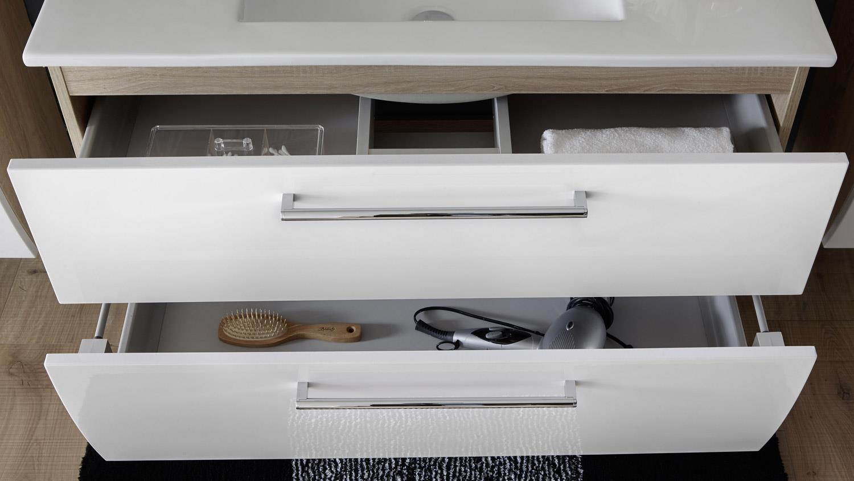 waschbeckenschrank miami inkl becken eiche hochglanz wei led. Black Bedroom Furniture Sets. Home Design Ideas