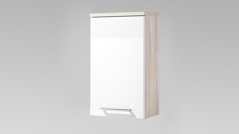 h ngeschrank miami sonoma eiche hochglanz wei badezimmer 1 trg. Black Bedroom Furniture Sets. Home Design Ideas