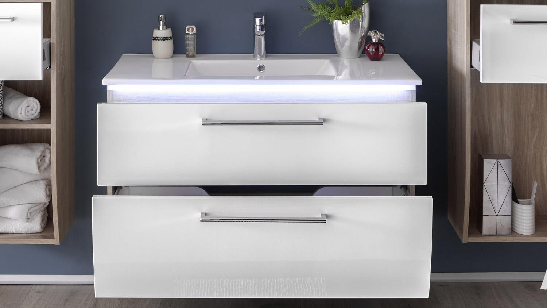 H Badezimmer Set Miami Sonoma Weiß HG 2-tlg Becken