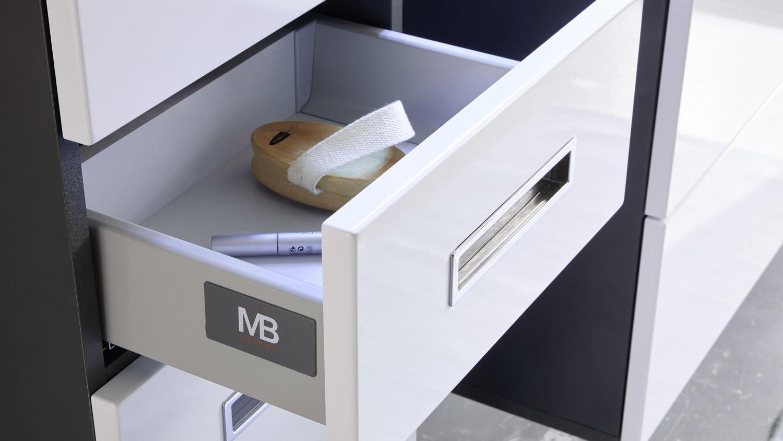hochschrank manhattan grau wei hochglanz badezimmer. Black Bedroom Furniture Sets. Home Design Ideas