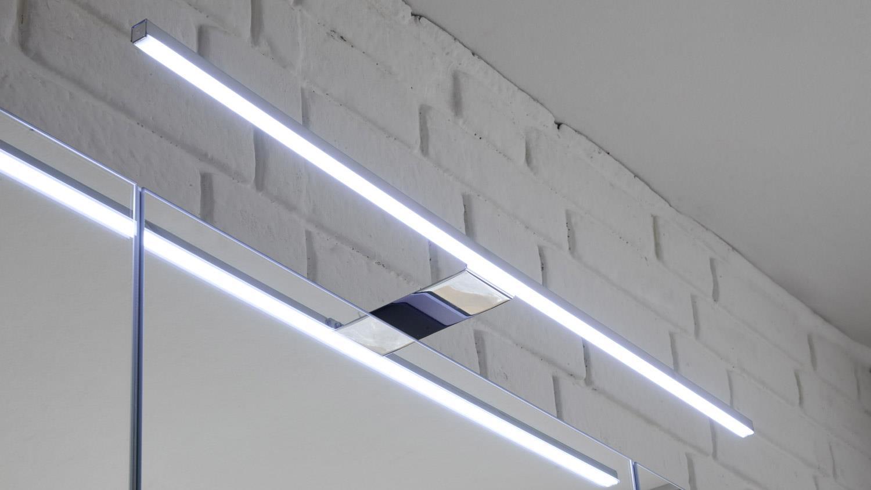 Badezimmer Set MELISSA 2-tlg in grau weiß Hochglanz mit LED & Becken