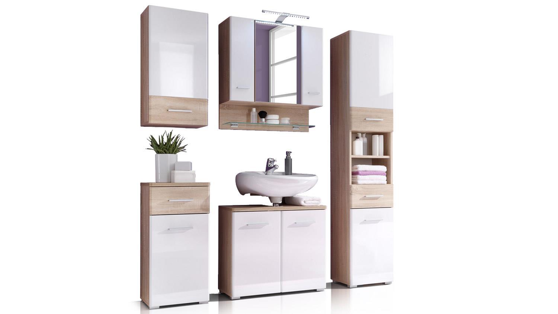 Badezimmer Set BAROLO 5-teilig Bad Schränke Sonoma Eiche weiß mit LED