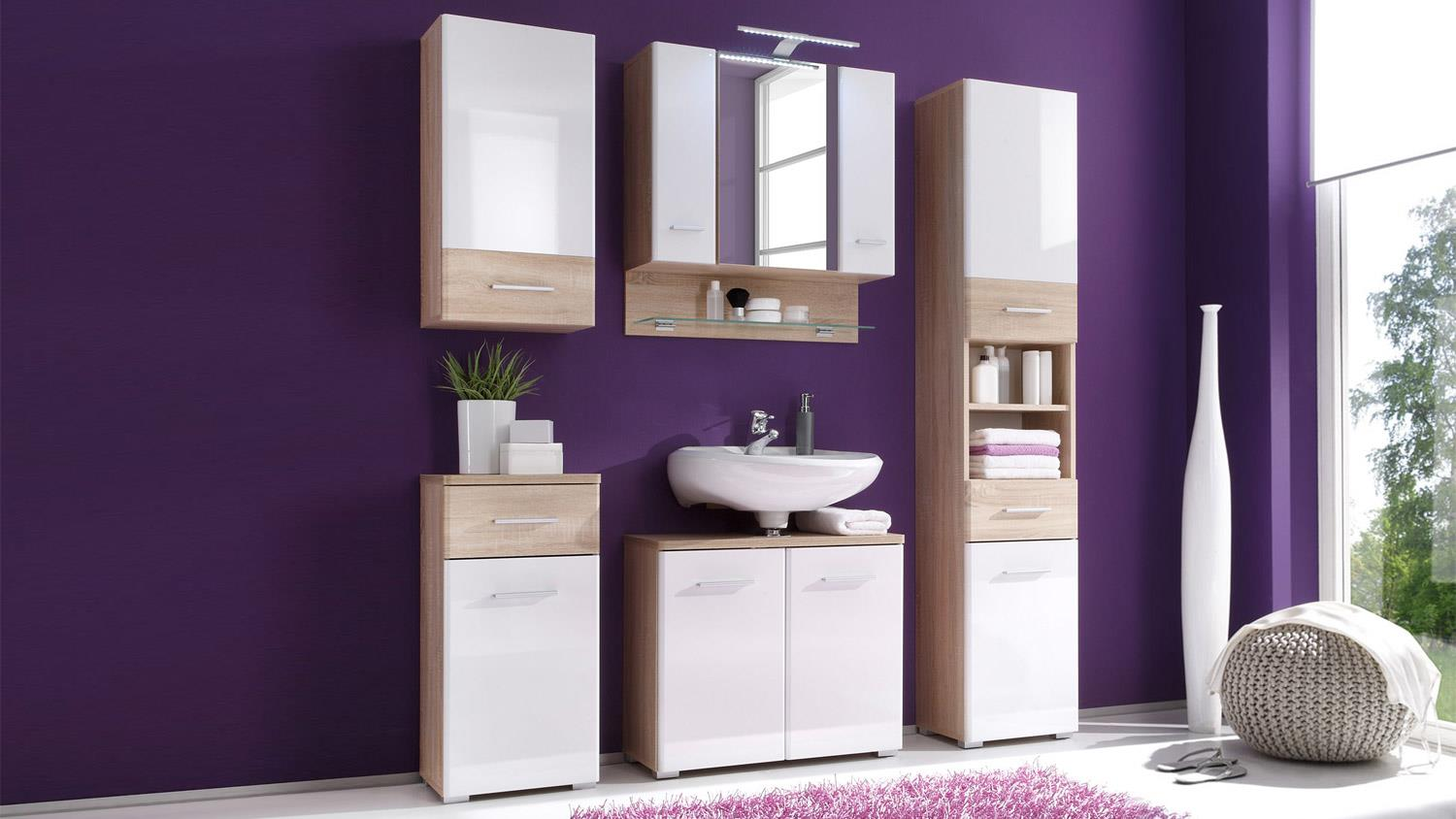 badezimmer set barolo 5 teilig bad schr nke sonoma eiche wei mit led. Black Bedroom Furniture Sets. Home Design Ideas