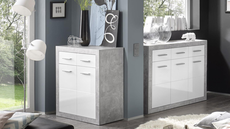 Kommode STONE Schrank Beton und glänzend weiß 82 cm -> Kommode Weiß Glänzend