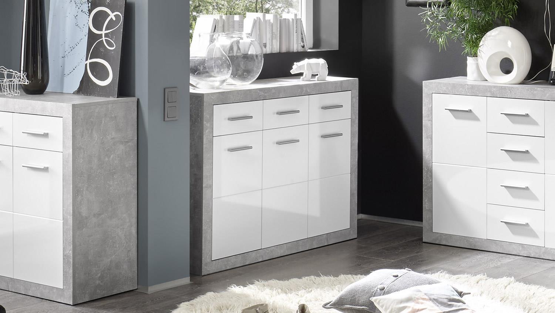 kommode stone schrank 3 t rig beton gl nzend wei 117cm. Black Bedroom Furniture Sets. Home Design Ideas