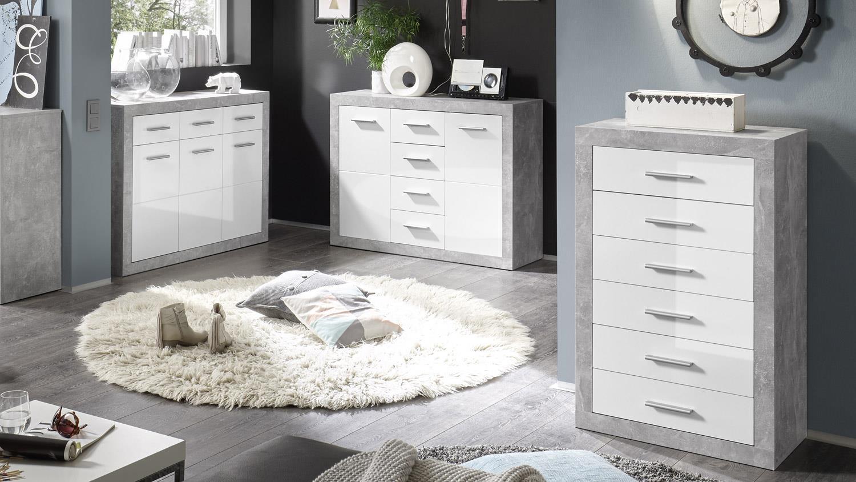 kommode stone schrank highboard beton wei glanz 66 cm. Black Bedroom Furniture Sets. Home Design Ideas
