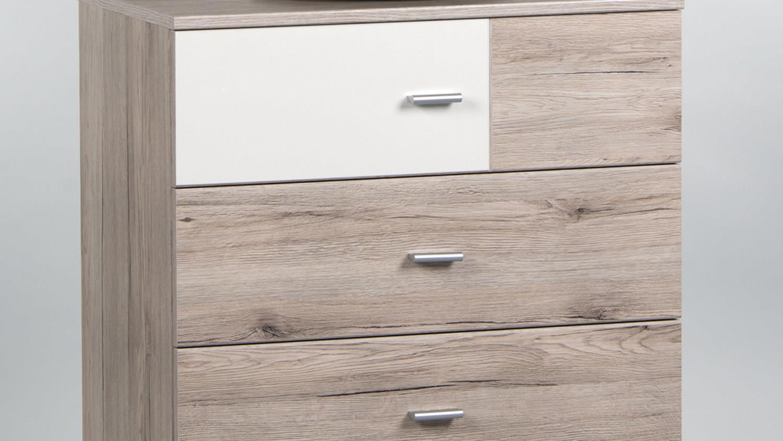 kommode metri sandeiche wei 4 schubk sten 65 cm. Black Bedroom Furniture Sets. Home Design Ideas