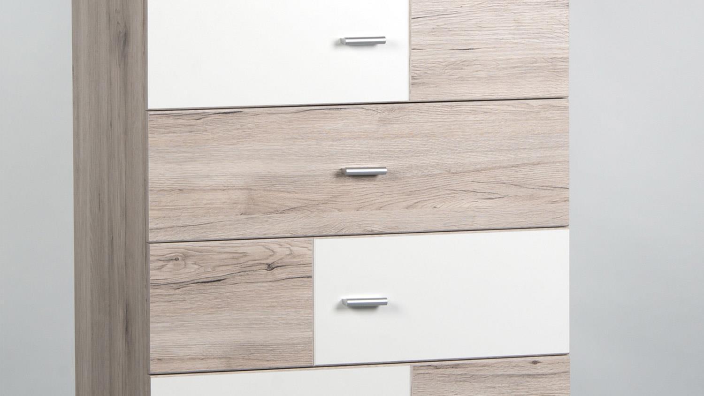 kommode metri sandeiche wei 6 schubk sten 65 cm. Black Bedroom Furniture Sets. Home Design Ideas