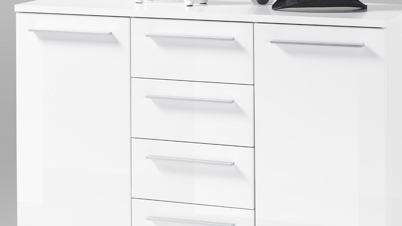 kommode north in hochglanz wei tiefgezogen 120 cm breit. Black Bedroom Furniture Sets. Home Design Ideas