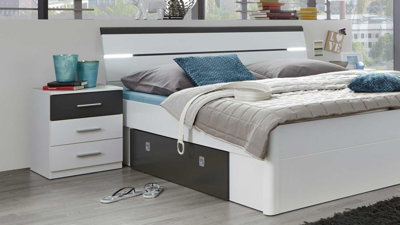 schlafzimmer set mit kleiderschrank match 2 bettanlage mars wei. Black Bedroom Furniture Sets. Home Design Ideas