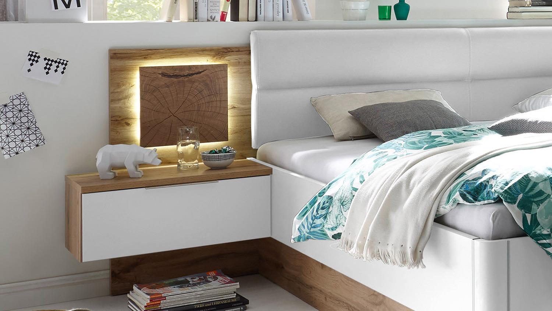 Schlafzimmer CAPRI Wildeiche weiß und Hirnholz inkl. LED