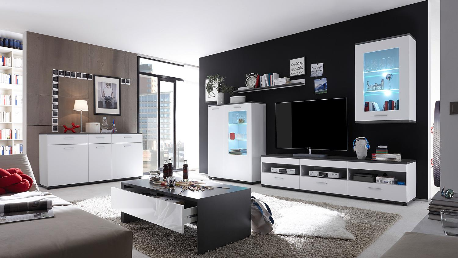 wohnwand 1 jump in mdf wei und grau inkl led beleuchtung. Black Bedroom Furniture Sets. Home Design Ideas